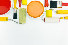 Paint tools with paint cans. Home renovations. painting tools and accessories on white background stock photo