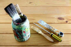 Paint Tools. On Wooden Background royalty free stock photos
