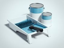 Paint tray and blue roller. 3d rendering Stock Images