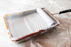 Paint Tray and Roller Stock Photography