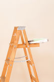 Paint Tray and Roller on Ladder Stock Photography