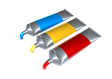 Paint tubes. Illustration-tubes of paint on white background Stock Photo