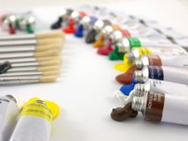 Paint tubes and brushes Royalty Free Stock Images