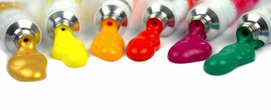 Paint tubes and colors royalty free stock images