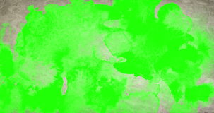 Paint on vintage old paper with watercolor splash splatter effect and chroma key green screen stock footage