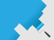 Paint wall. Paint house wall with paint roller Royalty Free Stock Images