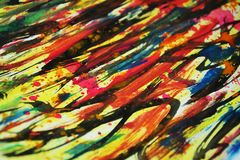 Paint warm vivid watercolor colors, contrasts, waxy paint creative background. Paint warm vivid watercolor colors, contrasts, blurred vivid watercolor texture in Stock Image