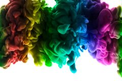 Acrylic colors and ink in water. Abstract frame background. Isolated on white. Royalty Free Stock Photography