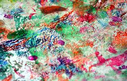 Paint watercolor bright hues, vivid background, painting abtract colors. Paint watercolor acrylic abstract background in vivid bright colors, violet, pink, green royalty free stock photo