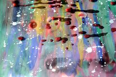 Painting watercolor abstract background, wax and white spots. Paint watercolor hues and colors with red waxy spots and white splashes of paint, abstract texture Stock Images