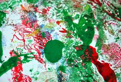 Paint watercolor red green spots, vivid background, painting abtract colors. Paint watercolor acrylic abstract background in vivid bright colors, red, green stock images