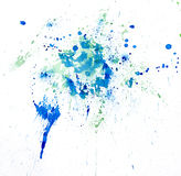 Paint watercolour splatter blue. Watercolors spot blotch isolated Stock Photo