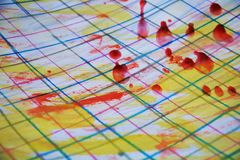 Paint, wax and pen lines, abstract background Stock Photography
