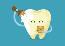 Paint whitening tooth Royalty Free Stock Image
