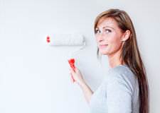 Paint woman home Stock Photo