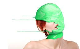 Paint on woman's head Royalty Free Stock Photo