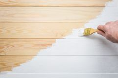 Paint wooden boards with white paint. Self repair stock image
