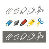 Paint and writing tools collection Royalty Free Stock Images