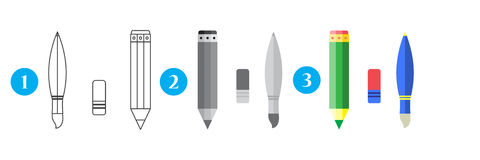 Paint and writing tools collection - pencil,eraser, brush. line and flat style Royalty Free Stock Photos