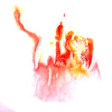 Paint yellow, red splash ink stain watercolour Stock Photo