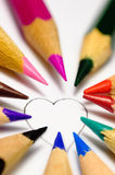 Paint your love!. The heart contour, which can paint everyone on the taste with crayons Royalty Free Stock Image