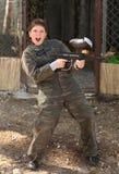 paintball пушки мальчика стоковая фотография rf