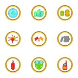 Paintball accessories icons set, cartoon style Stock Images