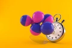 Paintball balls with stopwatch. Isolated on orange background. 3d illustration Royalty Free Stock Photos