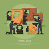Paintball Battle Illustration. Flat design paintball field battle and three players on green background vector illustration Royalty Free Stock Image