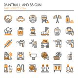 Paintball and BB Gun Equipments. Thin Line and Pixel Perfect Icons Stock Photos