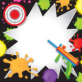 Paintball Birthday Invitation. Super fun Paintball Birthday Invitation with colorful paintball gun shooting at a bullseye target with cool comic book starbursts Royalty Free Stock Images