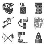 Paintball black icons Stock Photo