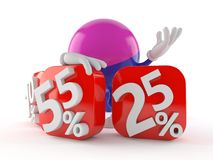 Paintball character behind percentage signs Stock Photos