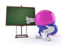 Paintball character with blank blackboard. Isolated on white background. 3d illustration Stock Images