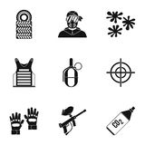 Paintball club icons set, simple style Stock Photo
