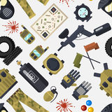 Paintball club symbols icons protection uniform and sport game design elements equipment seamless pattern vector. Set of paintball club symbols icons protection Royalty Free Stock Image