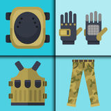 Paintball club symbols icons protection uniform and sport game design elements equipment target vector illustration Royalty Free Stock Images