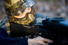 Paintball commando Stock Images