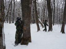 Paintball d'hiver image libre de droits