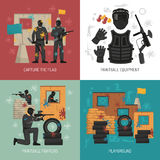 Paintball 2x2 Design Concept. Flat paintball fighters field and equipment 2x2 design concept on colorful backgrounds  vector illustration Royalty Free Stock Images