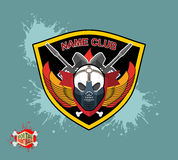 Paintball emblem club. Wings of fire and paintball guns. skull m Royalty Free Stock Photo