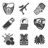 Paintball equipment black icons Stock Images