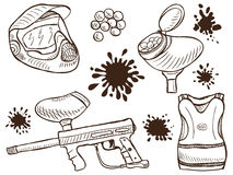 Paintball equipment doodle style Royalty Free Stock Images