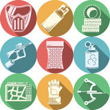 Paintball equipment flat color icons Royalty Free Stock Images