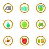 Paintball equipment icons set, cartoon style Stock Image