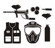 Paintball equipment - pictogram Royalty Free Stock Image