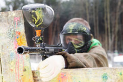 Paintball extreme sport game player Royalty Free Stock Images