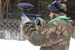 Paintball extreme sport game player Stock Image