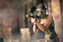 Paintball, female player Royalty Free Stock Photography