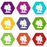 Paintball field icons set 9 vector. Paintball field icons 9 set coloful isolated on white for web Royalty Free Stock Image